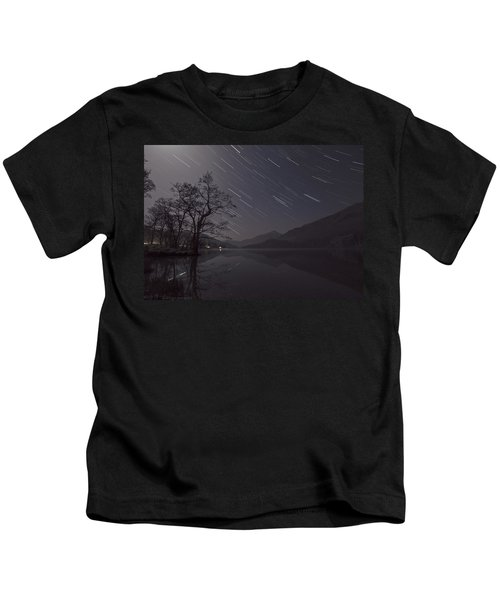 Star Trails Over Lake Kids T-Shirt