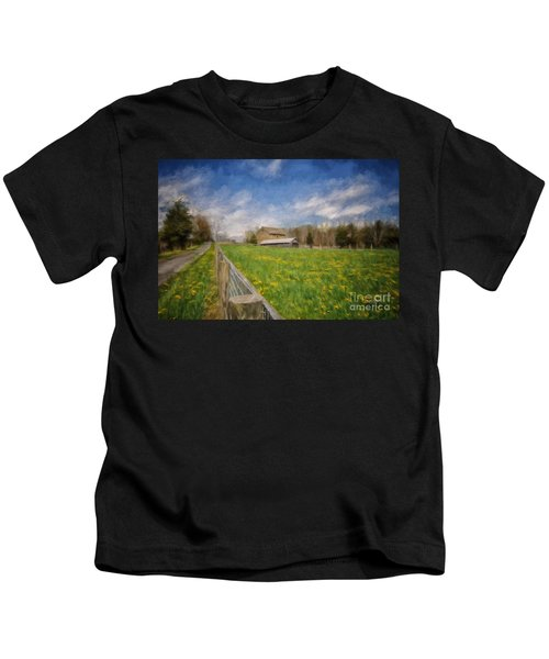 Stone Barn On A Spring Morning Kids T-Shirt