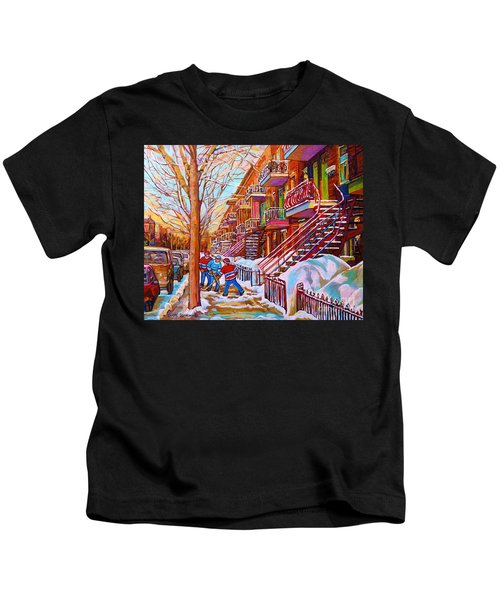 Street Hockey Game In Montreal Winter Scene With Winding Staircases Painting By Carole Spandau Kids T-Shirt