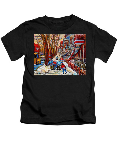 Streets Of Verdun Hockey Art Montreal Street Scene With Outdoor Winding Staircases Kids T-Shirt