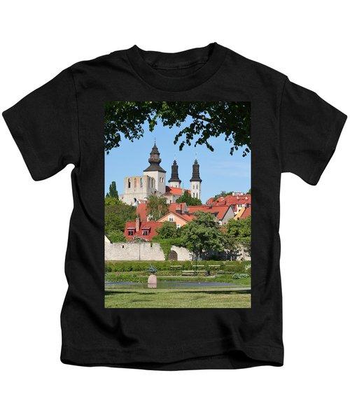 Summer Green Medieval Town Kids T-Shirt