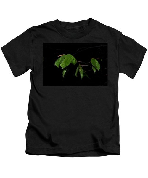 Summer Leaves On Black Kids T-Shirt