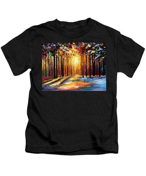 Sun Of January - Palette Knife Landscape Forest Oil Painting On Canvas By Leonid Afremov Kids T-Shirt