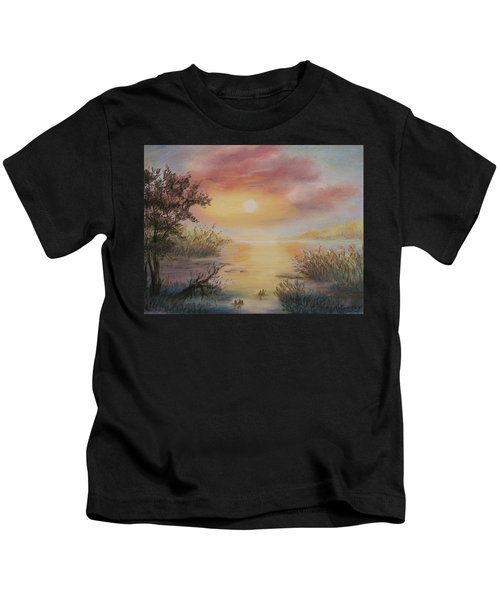 Sunset By The Lake Kids T-Shirt