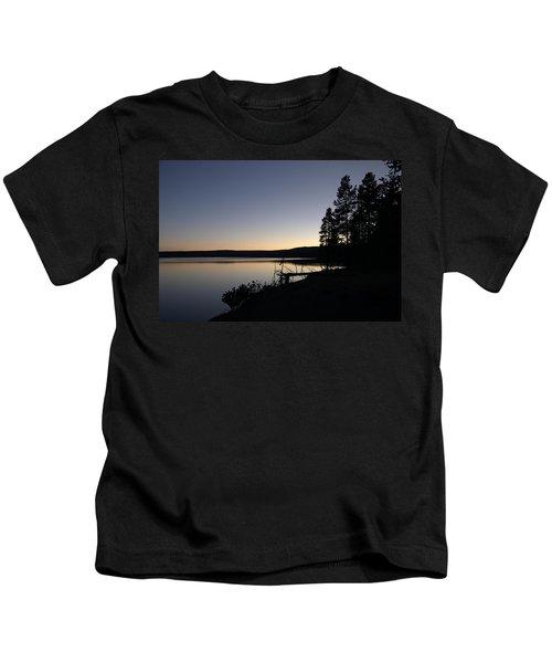 Sunset Over Yellowstone Lake Kids T-Shirt