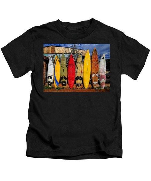 Surf Board Fence Maui Hawaii Kids T-Shirt