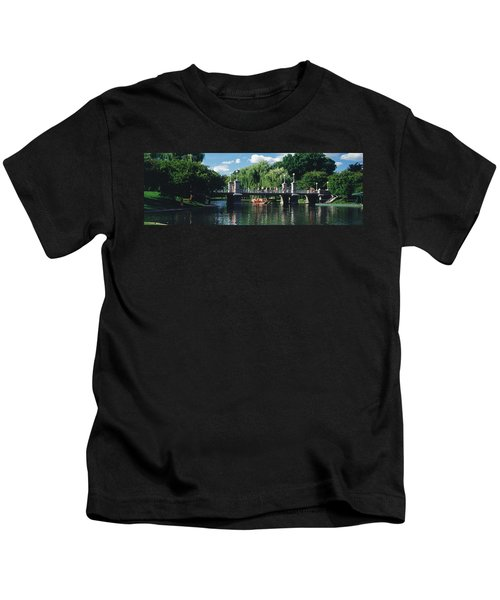 Swan Boat In The Pond At Boston Public Kids T-Shirt