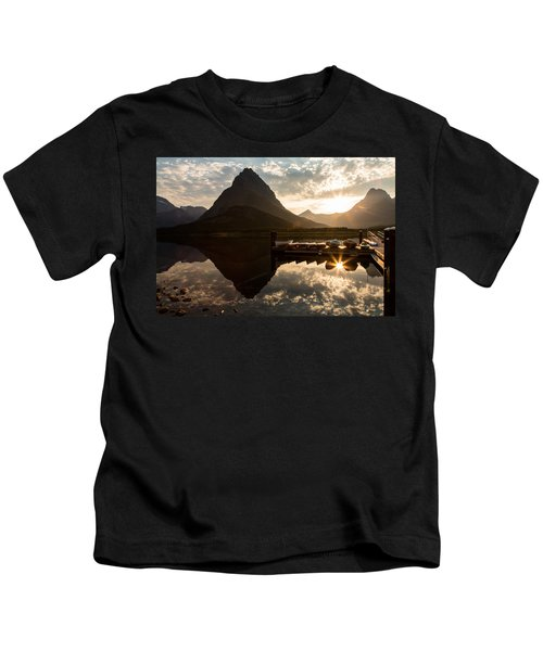 Swiftcurrent Lake Boats Reflection And Flare Kids T-Shirt