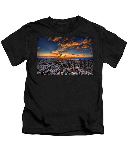 Tel Aviv Sunset Time Kids T-Shirt