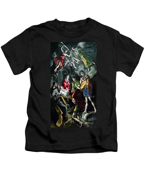 The Adoration Of The Shepherds From The Santo Domingo El Antiguo Altarpiece Kids T-Shirt