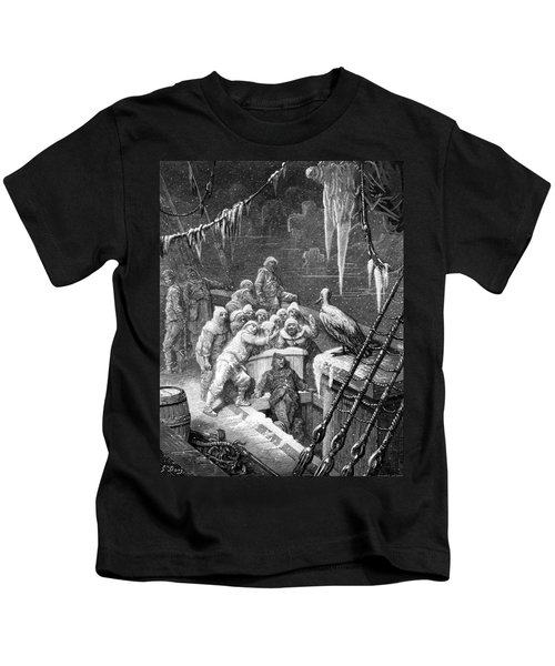 The Albatross Being Fed By The Sailors On The The Ship Marooned In The Frozen Seas Of Antartica Kids T-Shirt by Gustave Dore