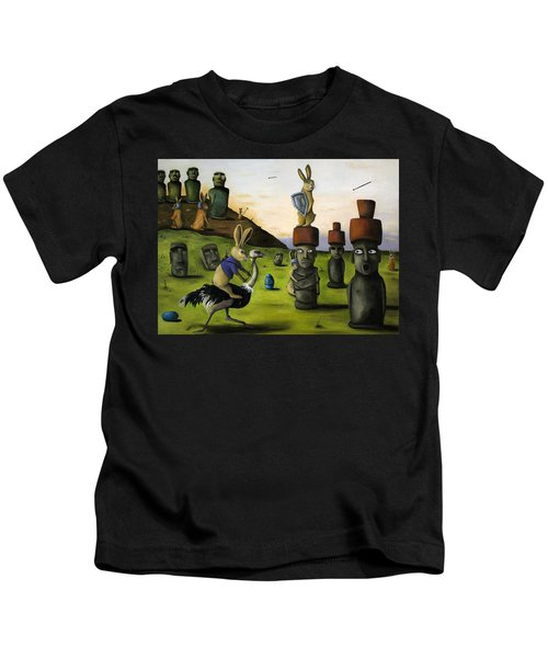The Battle Over Easter Island Kids T-Shirt by Leah Saulnier The Painting Maniac