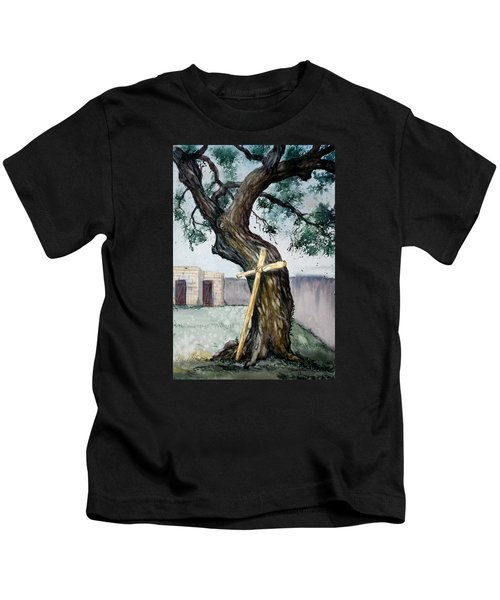 Da216 The Cross And The Tree By Daniel Adams Kids T-Shirt