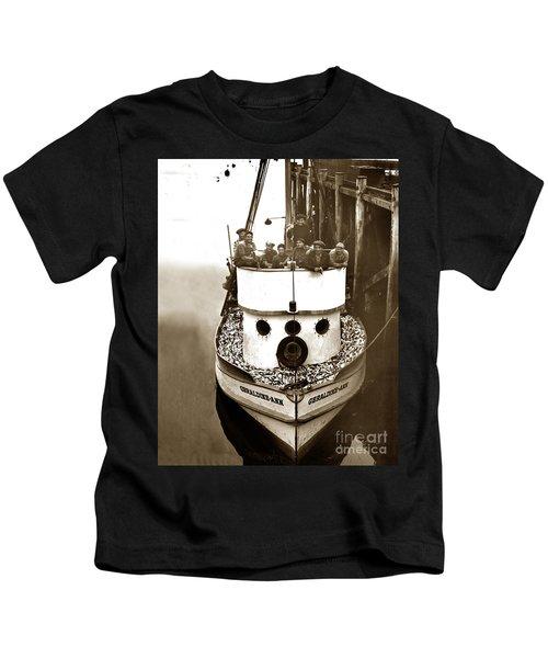The Happy Crew Of The Fishing Boat  Geraldine- Ann Monterey California 1939 Kids T-Shirt