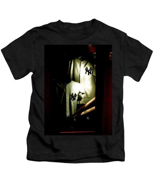 The Locker  Mickey Mantle's And Joe Dimaggio's Locker Kids T-Shirt by Iconic Images Art Gallery David Pucciarelli