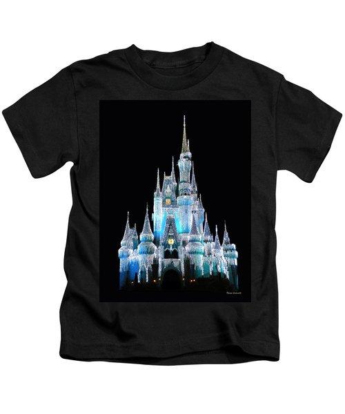 The Magic Kingdom Castle In Frosty Light Blue Walt Disney World Kids T-Shirt