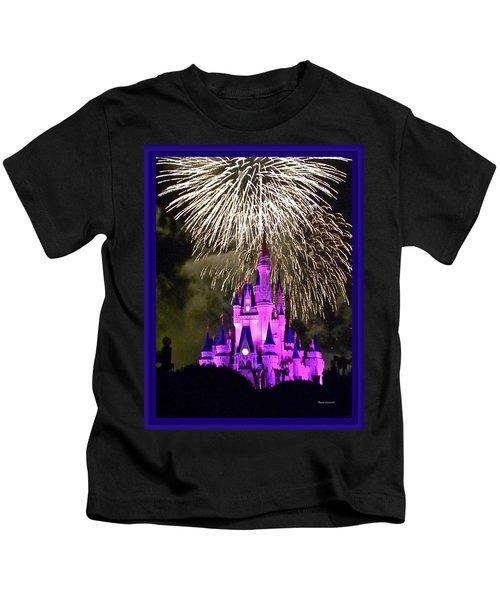 The Magic Kingdom Castle In Violet With Fireworks Walt Disney World Fl Kids T-Shirt