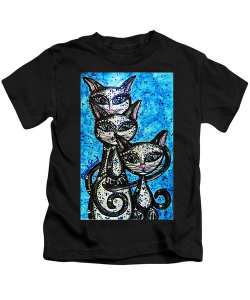 Three Grey Cats-alcohol Inks Kids T-Shirt
