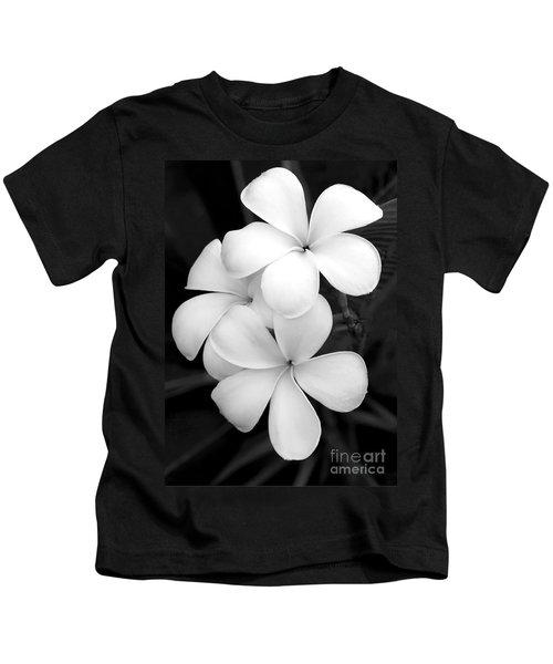 Three Plumeria Flowers In Black And White Kids T-Shirt