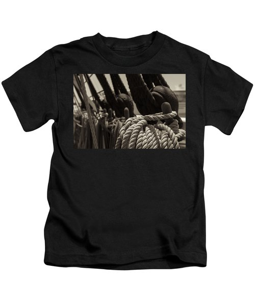Tied Up Black And White Sepia Kids T-Shirt