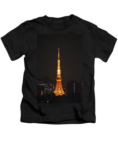 Tokyo Tower And Skyline At Night From Shinagawa Kids T-Shirt