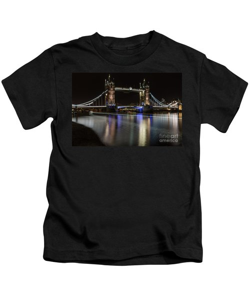 Tower Bridge With Boat Trails Kids T-Shirt