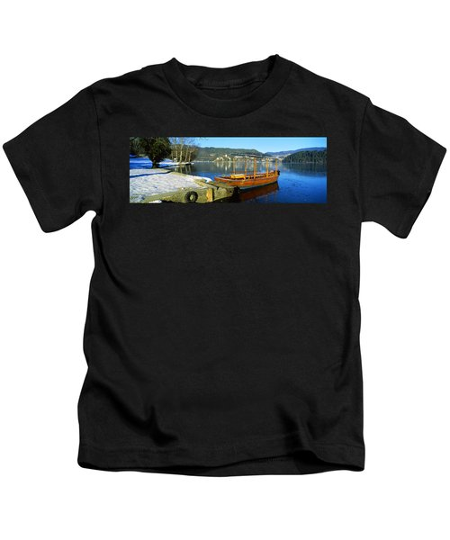 Traditional Boat Docked At A Port, Lake Kids T-Shirt