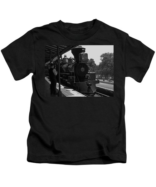 Train Ride Magic Kingdom Black And White Kids T-Shirt