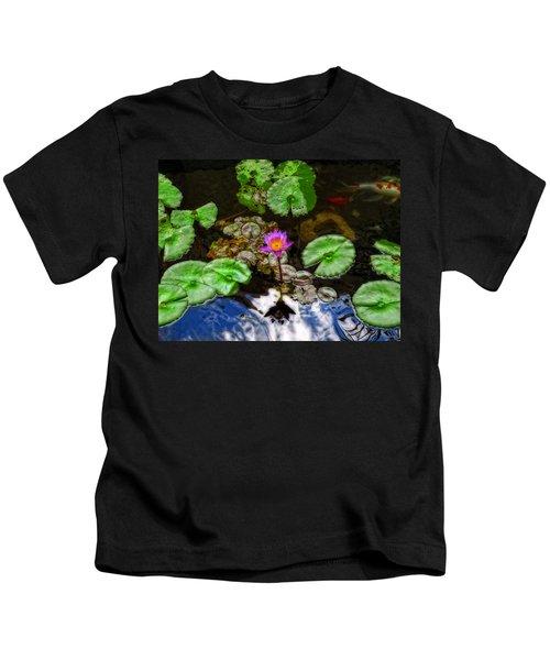 Tranquility - Lotus Flower Koi Pond By Sharon Cummings Kids T-Shirt
