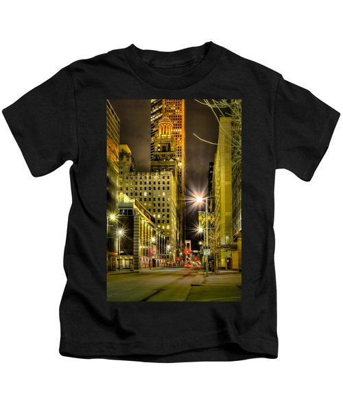 Travis And Lamar Street At Night Kids T-Shirt