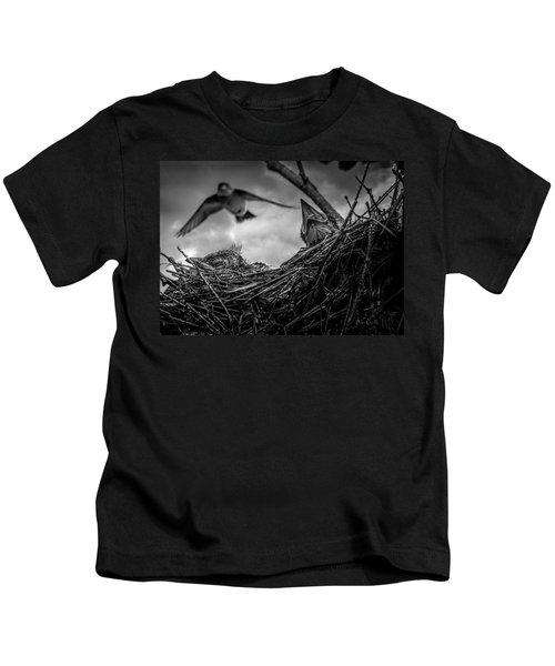 Tree Swallows In Nest Kids T-Shirt