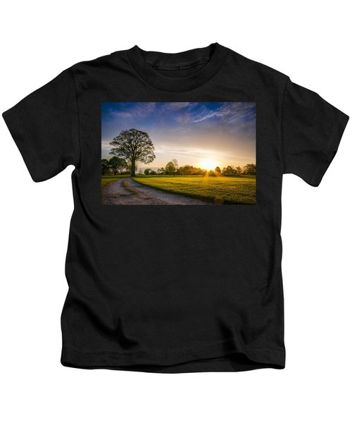Trees At Dawn On Golf Course Kids T-Shirt