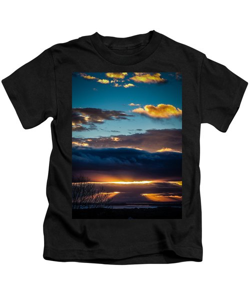 Kids T-Shirt featuring the photograph Tunnels Of Light Over Ireland's Shannon Airport by James Truett
