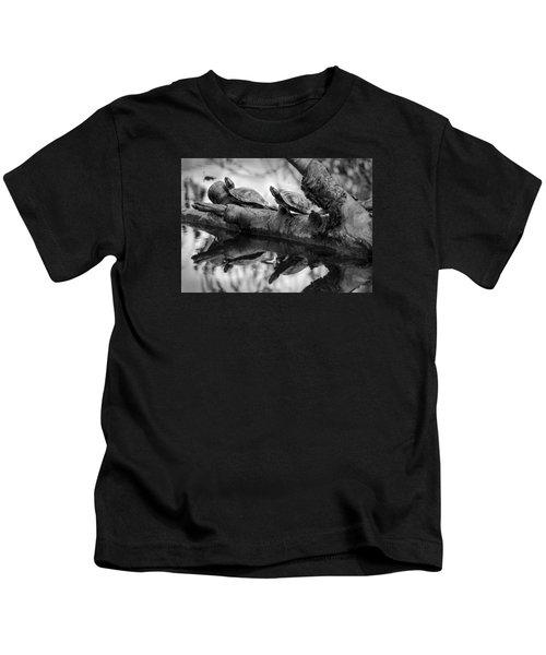Turtle Bffs Bw By Denise Dube Kids T-Shirt