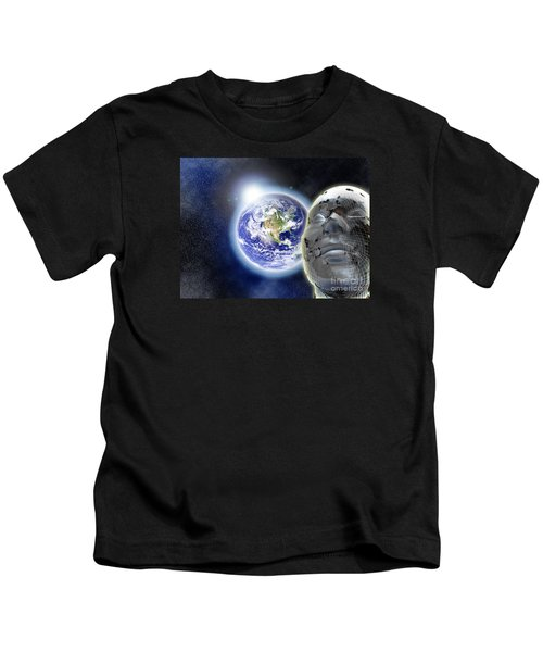 Alone In The Universe Kids T-Shirt by Stefano Senise