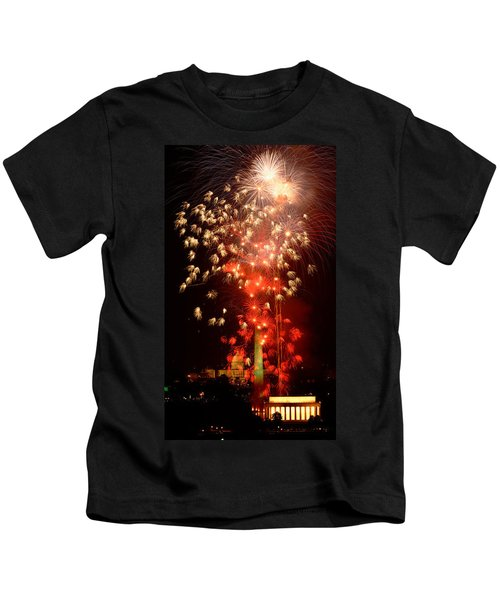 Usa, Washington Dc, Fireworks Kids T-Shirt by Panoramic Images