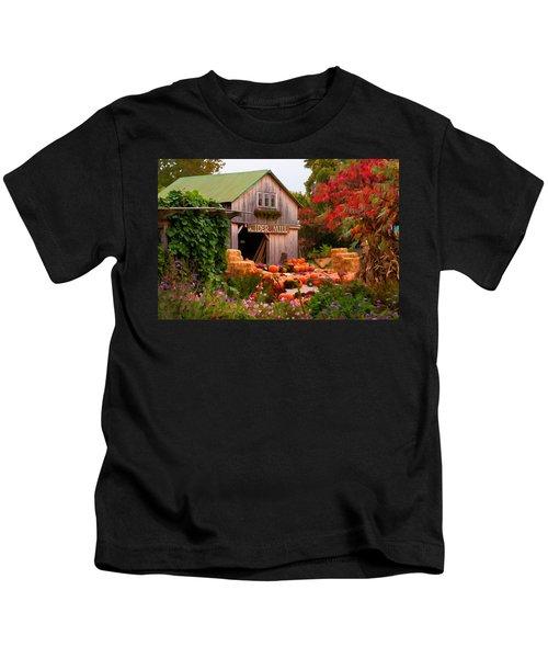 Vermont Pumpkins And Autumn Flowers Kids T-Shirt
