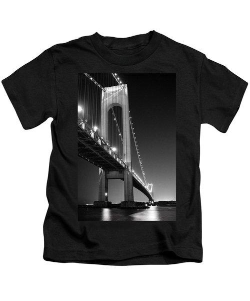Verrazano Bridge At Night - Black And White Kids T-Shirt
