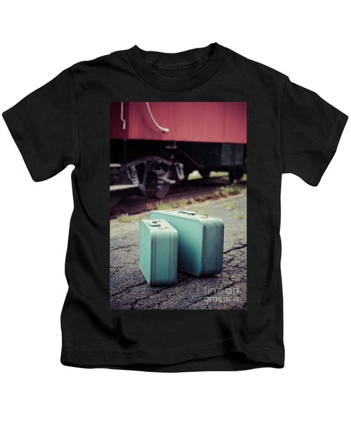 Vintage Blue Suitcases With Red Caboose Kids T-Shirt