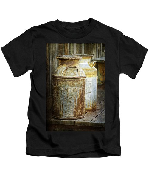Vintage Creamery Cans In 1880 Town In South Dakota Kids T-Shirt