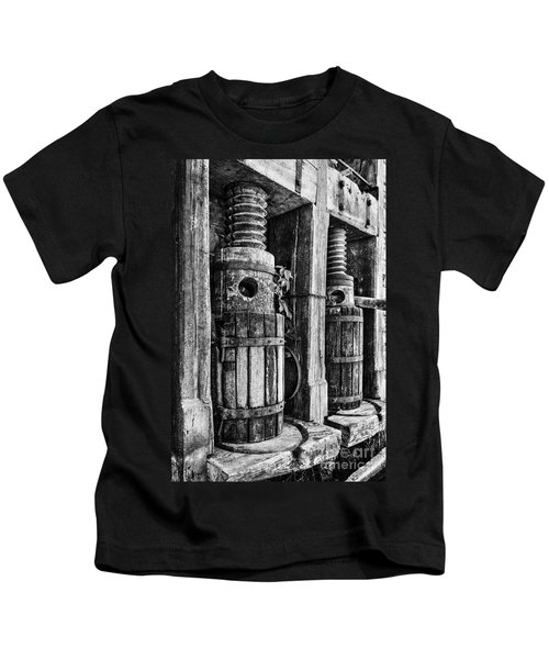Vintage Wine Press Bw Kids T-Shirt