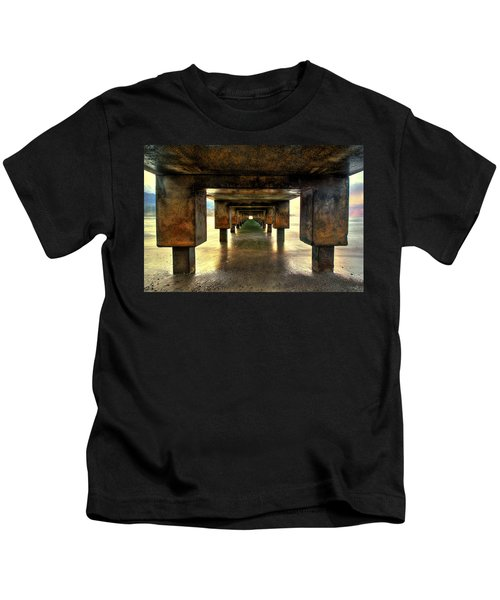 Vintaged Hanalei Pier  Kids T-Shirt