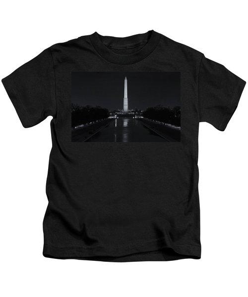 Washington Monument At Night Kids T-Shirt