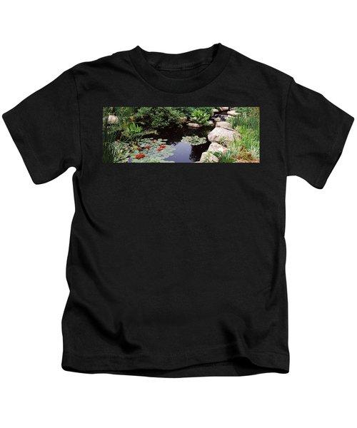 Water Lilies In A Pond, Sunken Garden Kids T-Shirt