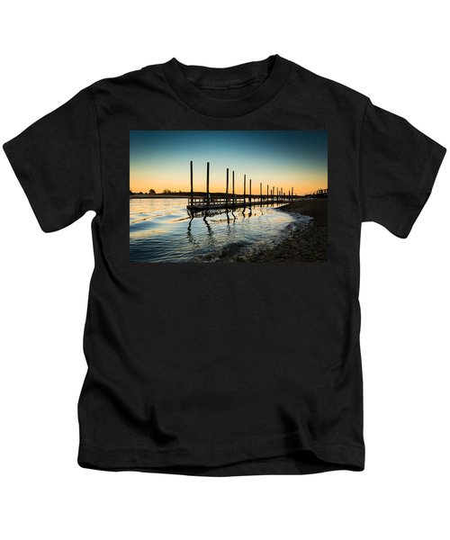 Wavy Sunset Kings Park New York Kids T-Shirt