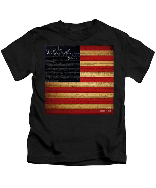 We The People - The Us Constitution With Flag - Square Kids T-Shirt