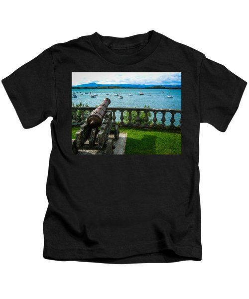 Kids T-Shirt featuring the photograph Weathered Cannon Guards Ireland's Historic Bantry Bay by James Truett
