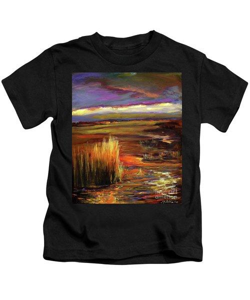 Wetlands Sunset Iv Kids T-Shirt
