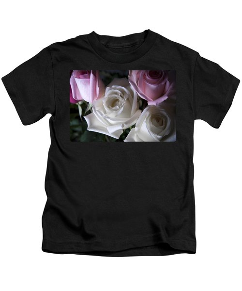 White And Pink Roses Kids T-Shirt