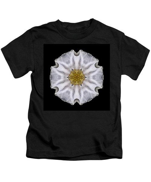 White Beach Rose I Flower Mandala Kids T-Shirt